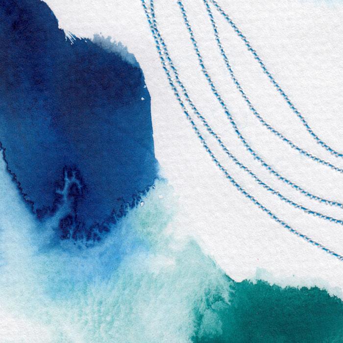 Experiment mit Aquarell und Nähgarn